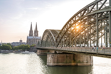 Cityscape with Hohenzollern Bridge and Cathedral, Cologne, Germany, Europe