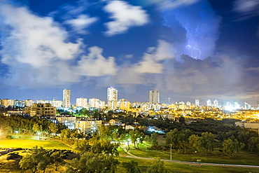 City view during storm, Ashdod, Israel, Asia