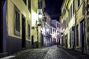 Illuminated street  at night, Funchal, Madeira, Portugal, Europe