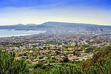 Cityscape taken from Vesuvius volcano, Naples, Campania, Italy, Europe