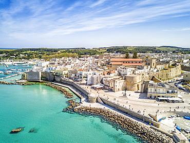 View with historic Aragonese castle, Otranto, Apulia, Italy, Europe