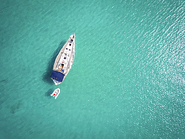 White yacht landing on Adriatic Sea, Ortanto, Italy, Europe