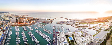 Panoramic, aerial view of marina, Vilamoura, Quarteira, Algarve, Portugal, Europe
