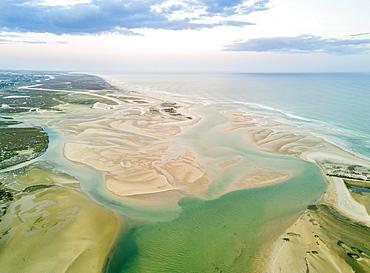 Aerial view from lagoon, Ria Formosa National Park, Fuseta, Algarve, Portugal, Europe