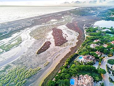 Mansions with swimming pools, Ria Formosa National Park, Quinta do Lago, Almancil, Algarve, Portugal, Europe