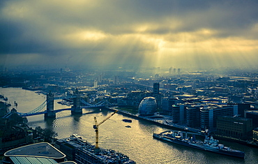 View of Tower Bridge and Thames with dramatic lighting, London, Great Britain
