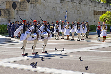 Changing of the guards in front of Parliament, Evzones at the Tomb of the Unknown Soldier on Syntagma Square in Athens, Greece, Europe