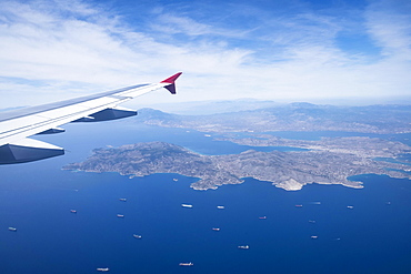 View from aircraft, Greek islands, approaching Athens, Greece, Europe