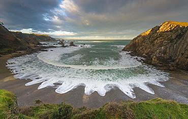 Playa del Silencio, cloudy atmosphere, Bay of Biscay, Asturias, Spain, Europe