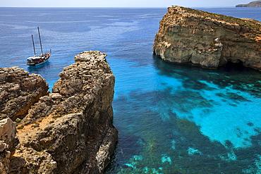 Yacht in the Blue Lagoon, Comino, Malta, Europe