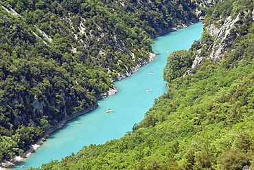 Boats at the mouth of Verdon Gorge, Provence-Alpes-Côte d'Azur, France, Europe