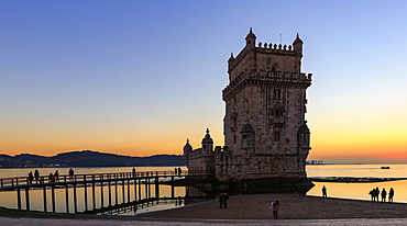 Belém Tower at sunset, Lisbon, Portugal, Europe