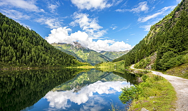 Reflection in the lake, Riesachsee, Rohrmoos-Untertal, Schladminger Tauern, Schladming, Styria, Austria, Europe