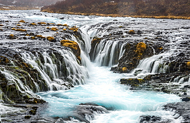 Waterfall Bruarfoss in winter, in Selfoss, Southern Region, Iceland, Europe
