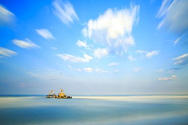 Shipwreck Zeila in the water, Henties Bay, Erongo region, Namibia, Africa