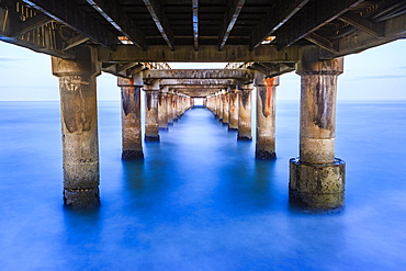 Pier from below, long time exposure, Swakopmund, Erongo region, Namibia, Africa