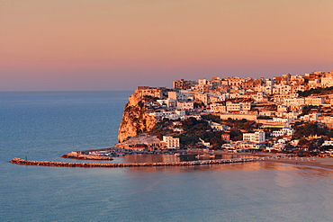 Peschici at sunset, Gargano, Foggia, Apulia, Italy, Europe