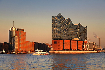 Elbphilharmonie at sunset, HafenCity, Hamburg, Germany, Europe