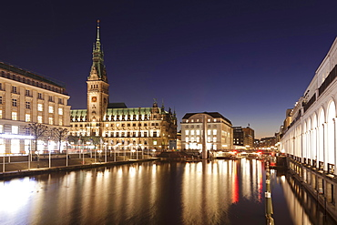 City hall and Alster Arcades by the small Alster, Hamburg, Germany, Europe