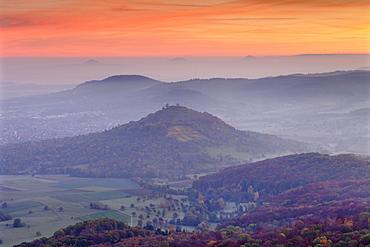 View from Breitenstein of Limburg and Drei Kaiserberge Hohenstaufen, Rechberg and Stuifen, Weilheim, Swabian Jura, Baden-Württemberg, Germany, Europe