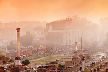 Roman Forum in the morning mist at sunrise, Foro Romano, Rome, Lazio, Italy, Europe