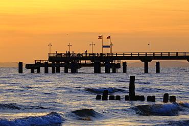Bansin pier at sunrise, Usedom, Mecklenburg-Western Pomerania, Germany, Europe