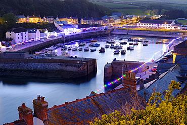 Port at dusk, Porthleven, Cornwall, England, United Kingdom, Europe