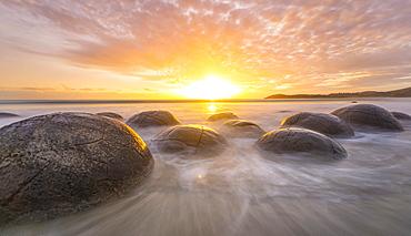Moeraki boulders, at sunrise, geological formation, Koekohe Beach, Moeraki, East Coast, Otago, South Island, New Zealand, Oceania