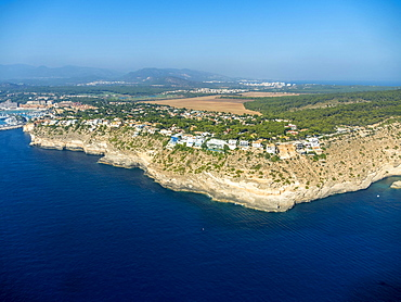 Aerial photograph, view of villas at Punta des Carregador, El Toro, Mallorca, Balearic Islands, Spain, Europe