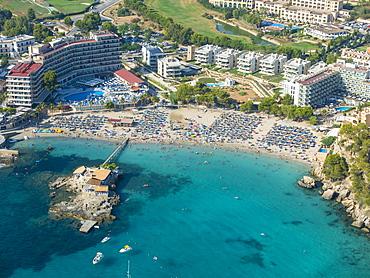 Aerial photograph, view of bay of Camp de Mar, beach, Mallorca, Balearic Islands, Spain, Europe