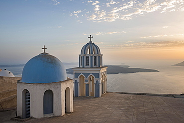 Blue dome and belfry, Firostefani, Santorini, Cyclades, Greece, Europe