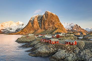 Townscape, Rorbuer fishermen's huts, Hamnoy, Moskenesøy, Lofoten, Norway, Europe
