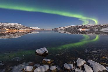 Northern lights reflected in fjord, island of Senja, Troms, Norway, Europe