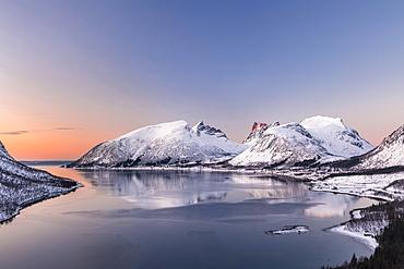 View of fjord in evening atmosphere, Senja Island, Troms, Norway, Europe