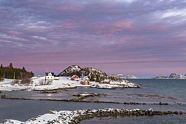 Morning atmosphere over the houses of Botnhamn, Senja Island, Troms, Norway, Europe