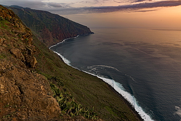 High bank with sea at sunset, Seixal, Madeira, Portugal, Europe