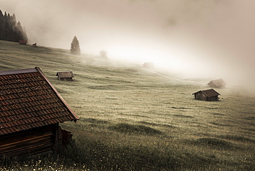 Small cabin on mountain meadow in the fog, Kaltenbrunn, Upper Bavaria, Germany, Europe