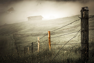 Pasture fence on mountain meadow with small cabin in the fog, Kaltenbrunn, Upper Bavaria, Germany, Europe