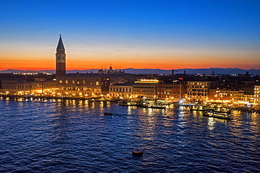 View from San Marco Basin, Bacino di San Marco, sunset, Piazza San Marco with Campanile and Doge's Palace, Palazzo Ducale, Venice, Italy, Europe