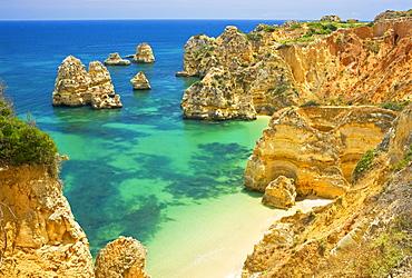 Rocky Camilo beach, Praia do Camilo, Lagos, Algarve, Portugal, Europe