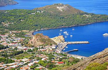 Porto di Levante and Vulcanello, Vulcano Island, Aeolian Islands, Tyrrhenian Sea, Italy, Europe