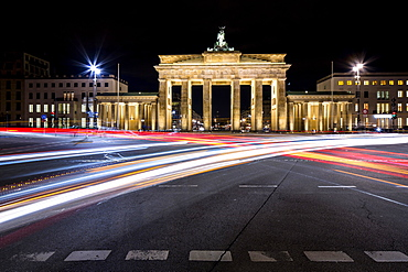 Brandenburg Gate with light trails at night, Berlin, Germany, Europe