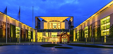 Illuminated Federal Chancellery, Government District, Blue Hour, Berlin, Germany, Europe