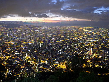 City centre at dusk, view from Cerro Monserrate, Bogotá, Colombia, South America