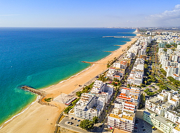 Aerial view, wide sandy beach in touristic resorts of Quarteira and Vilamoura, Algarve, Portugal, Europe