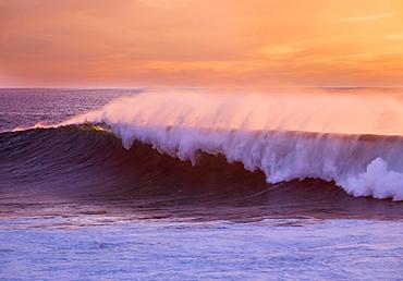 Ocean wave at sunset, Atlantic, Valle Gran Rey, La Gomera, Canary Islands, Spain, Europe