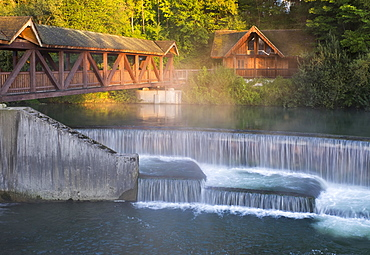 Kastenmühlwehr, mill, on the river Loisach, Wolfratshausen, Upper Bavaria, Bavaria, Germany, Europe