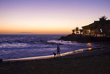Evening mood, La Playa, Valle Gran Rey, La Gomera, Canary Islands, Spain, Europe
