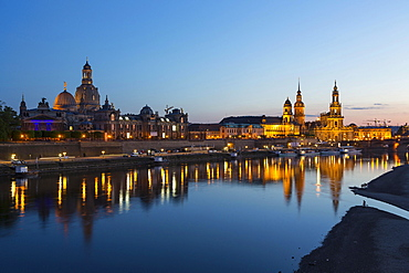 Cityscape with river Elbe and Dresden Cathedral, Dresden, Saxony, Germany, Europe
