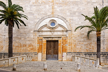 Main entrance of the Church of Sant Andreu, Santanyi, Majorca, Balearic Islands, Spain, Europe